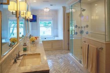 large tile custom bathroom