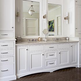 custom bathroom cabinetry in white